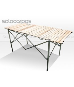 Folding table / desk with high-strength zinc-plated steel frame and rolling wooden board.