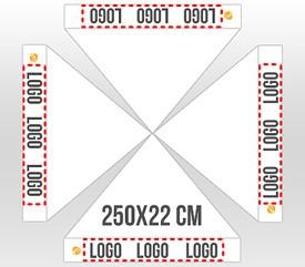 Personalización en 4 faldones logo 250x22 cm
