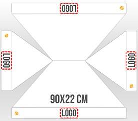 Personalización en 4 faldones logo 90x22 cm