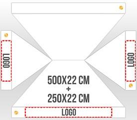 Personalización en 3 faldones (1 logo 500x22 cm + 2 logos 250x22 cm)